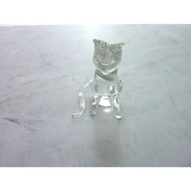 Vintage 80's Clear Glass Cat Figurine Small, Hand Blown - $12.00