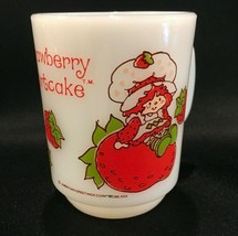 Strawberry Shortcake Milk Glass 10oz. Coffee Mug Anchor Hocking Fire King - $18.99