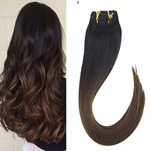 VeSunny 12inch Clip in Hair Extensions Ombre Remy Human Hair Natural Black Fadin