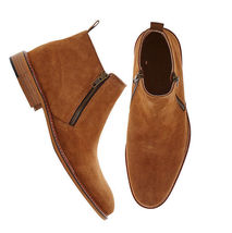 Handmade Men's Brown Suede High Ankle Zipper Dress/Formal Shoes image 1