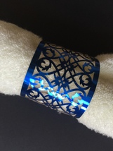 100pcs Metallic Paper Blue Laser Cut Table Decoration,Napkin Ring,Towel Wrappers - $34.00