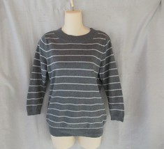 Talbots sweater pullover SP gray stripe 3/4 sleeves crew neck - $13.67
