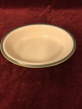 Lenox PATRIOT Oval Vegetable Serving Bowl - MINT~Green Band, Gold Arches... - $50.68