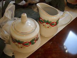 VINTAGE Sango Noel 1990 Christmas Holly Berries Bells Sugar Bowl and Cre... - $24.01