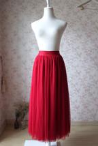 RED Full Tulle Skirts Women Tulle Maxi Skirt Red Wedding Bridesmaid Full Skirts image 1