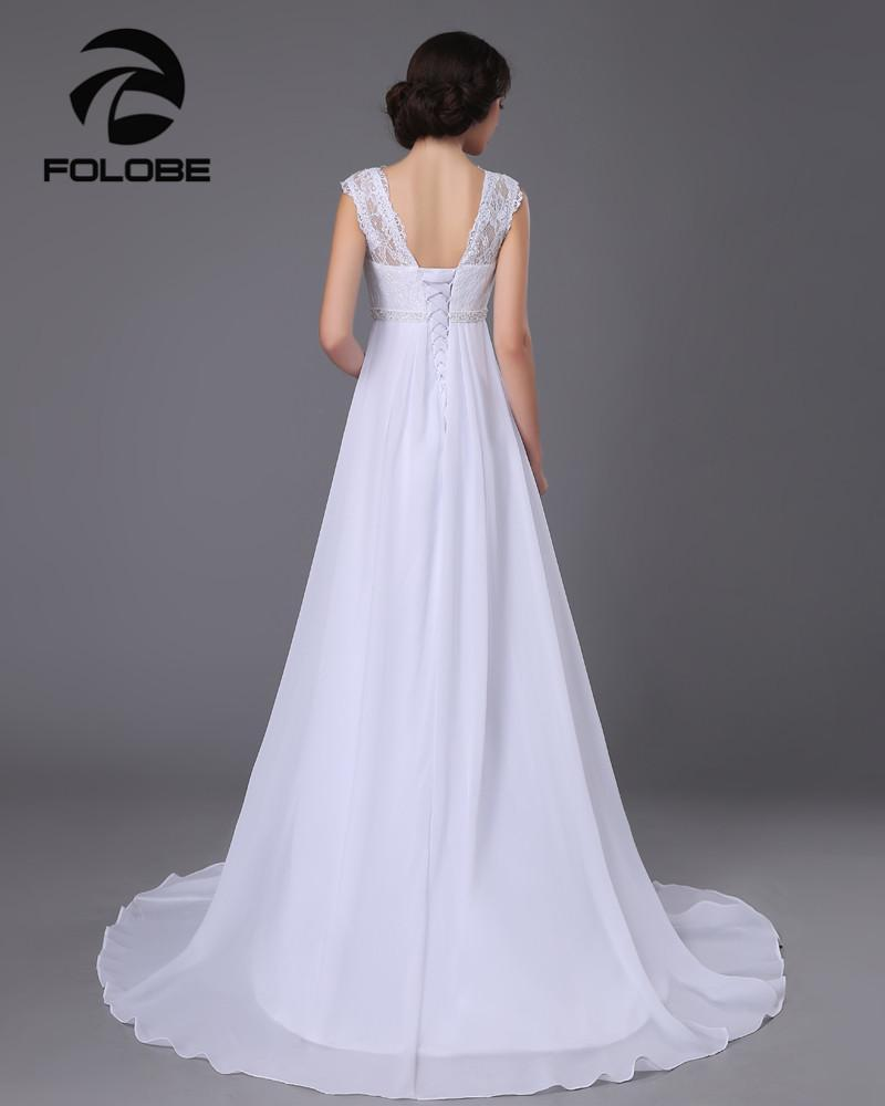 White/Ivory Chiffon Beading Lace Beach Wedding Dress Sweep Train Bridal Gown