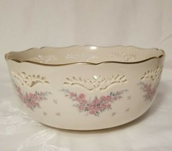 "Lenox China PETITE ROSE Pierced Round Bowl 8"" Scalloped Gold Edge Never ... - $19.79"