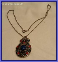 Sarah Coventry NAVAJO Collection Dem-Parure  Blue Red Cabochon Necklace Pendant - $24.75