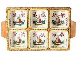 FREE SHIP: Vintage Unusual Wicker Tray with Six Hand Painted Ceramic Con... - $56.10
