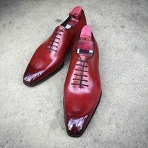 Handmade Men Burgundy Heart Medallion Lace Up Dress/Formal Oxford Leather Shoes image 4