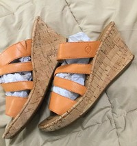 Born Zemora Orange Nappa Leather Sandals Wedge US 9M - $52.80