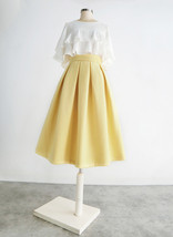 Yellow Wool Midi Skirt Outfit High Waist A-line Winter Midi Party Skirt image 2