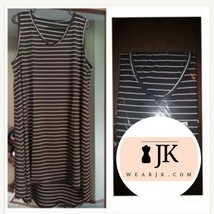 Stretch Black & White Stripe Plus Dress-Zerdocean - $18.81