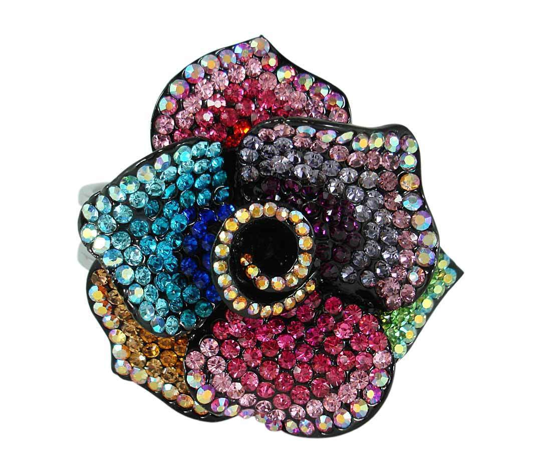 Multi-Colored Crystal Rose Cuff Style Bracelet