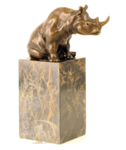 Antique Home Decor Bronze Sculpture shows Rhinoceros, signed * Free Air Shipping - $199.00