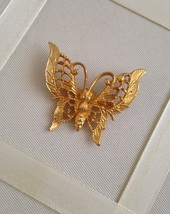 Vintage Gold Tone Butterfly Filigree Fashion Brooch - $15.00