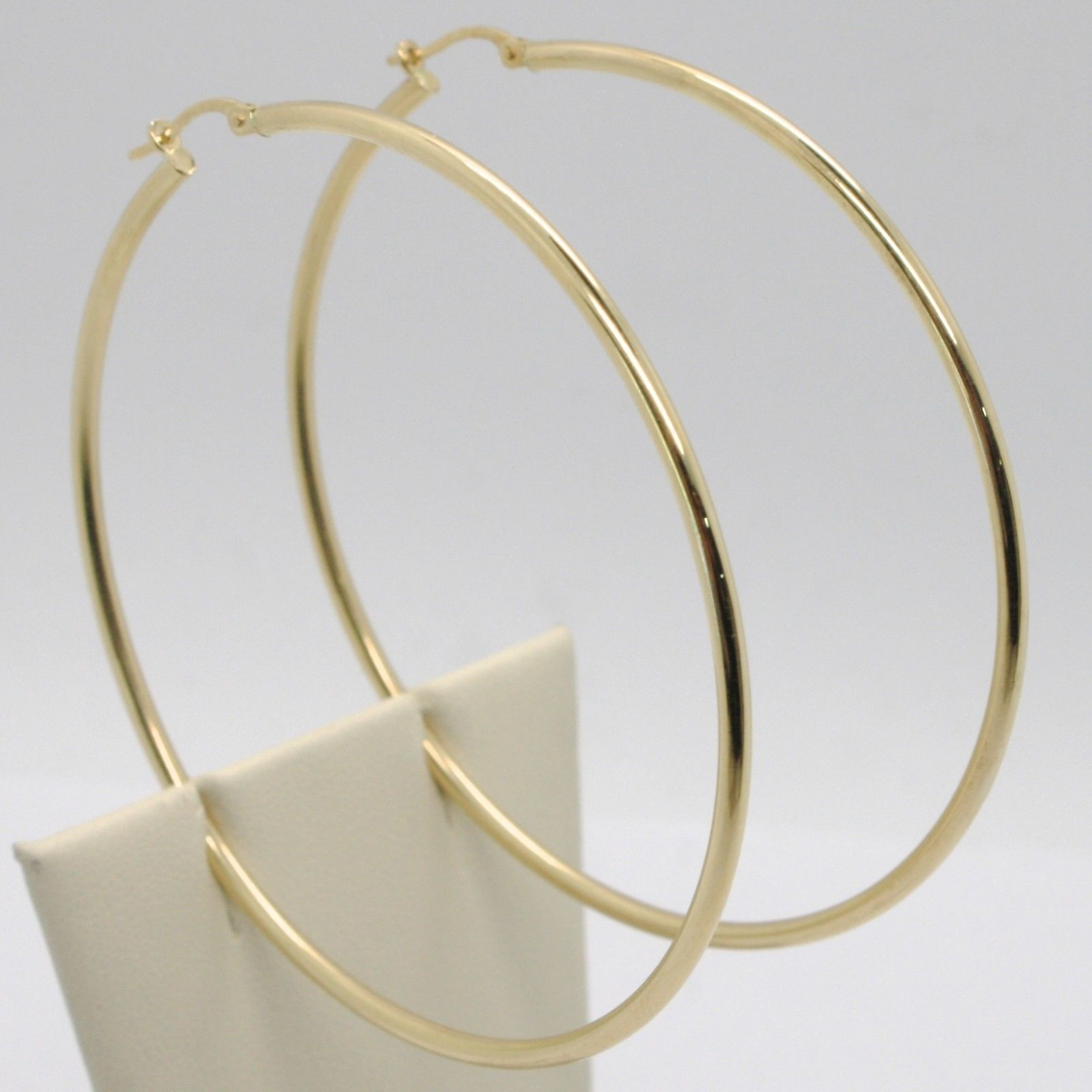 18K YELLOW GOLD ROUND CIRCLE EARRINGS DIAMETER 67 MM, WIDTH 2 MM, MADE IN ITALY
