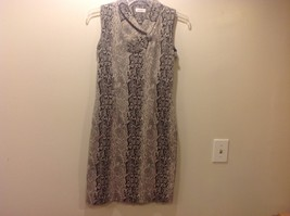 Calvin Klein Black/White/Beige Sleeveless V-Neck Collared Dress Sz 10 - $64.35