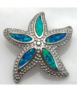 Sterling Silver and Opal Textured Starfish Pendant - £18.33 GBP