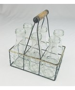 Vtg glass clear bottle chicken wire holder carry rack metal rustic farmh... - $54.45