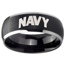 8mm Navy Dome Brushed Black 2 Tone Tungsten Carbide Anniversary Ring - $39.99