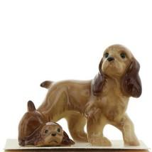 Hagen Renaker Miniature Dog Cocker Spaniel Papa and Pup Ceramic Figurine Set
