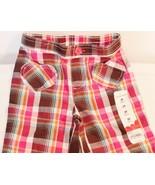 Toddler Jumping Beans Girls Pink Plaid Woven Khaki Capris Pants - $9.99