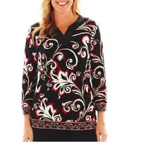 BEAUTIFUL 3/4 SLEEVE BLACK WHITE RED FLOWING TOP BLOUSE SEQUINS NECK S M image 2