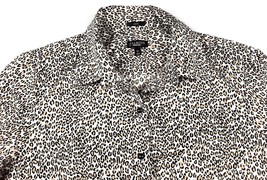 Talbots Womens Leopard Print Shirt 12 Button Front 3/4 Sleeve Stretch Co... - $16.97