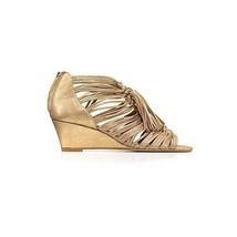 NIB Dolce Vita Ivan Wedge Tassel Strappy Sandal, Metallic Gold Leather, 7.5 M US - $118.79