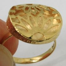 18K YELLOW GOLD RING FINELY WORKED FLOWER CIRCLE CENTRAL DAISY SUN MADE IN ITALY image 4