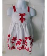 Penelope Mack Toddler Girls Red White Floral Dress Chenille Dots 18 Mont... - $15.80
