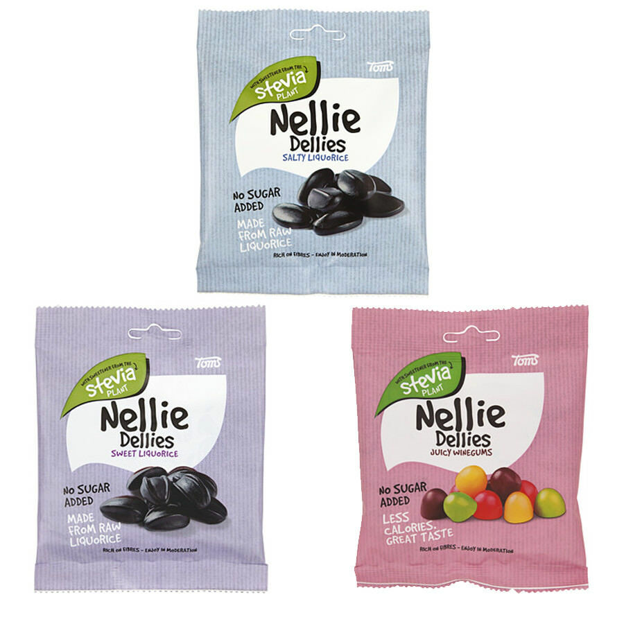 Toms Nellie Dellies Sugar Free Stevia Candy 90 gram Salty Sweet Licorice
