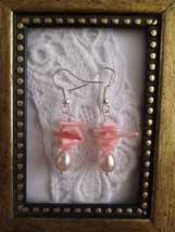 Handmade Pink Coral Chip & Pearl Silver Tone Earrings, Free Shipping! - $6.18