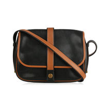 Authentic Hermes Vintage Black and Tan Leather Noumea Shoulder Bag image 8