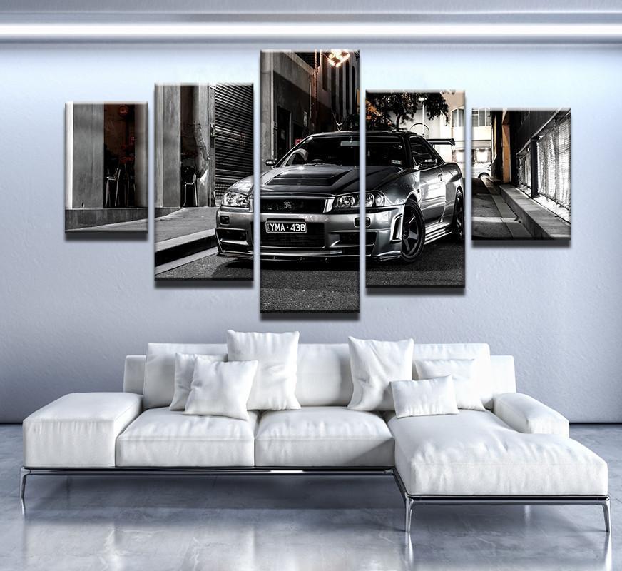 Framed 5 Panel Nissan Skyline Gtr Painting Printed Canvas Wall Art