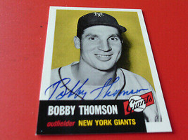BOBBY  THOMSON   HAND  SIGNED  AUTOGRAPH   TOPPS  ARCHIVES  # 330   N.Y.... - $19.99