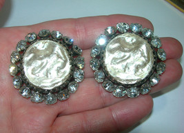 VINTAGE FREIRICH CLIP ON LARGE FAUX BIWA PEARL & RHINESTONES HUGE EARRINGS - $78.00