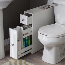 narrow bathroom cabinet floor white storage wood organizer toilet drawer... - $134.53