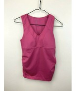 Athleta 34A Pink Bra Cup V Neck Tank Top Ruched Sides Stretch Athletic W... - $16.99