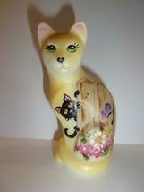 Fenton Glass Butterfly Chase Spring Flowers Stylized Cat Ltd Ed M Kibbe ... - $220.68