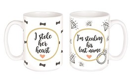 I Stole His and Hers Engaged Couples Ceramic Double Coffee Mug Gift Set,... - $40.61