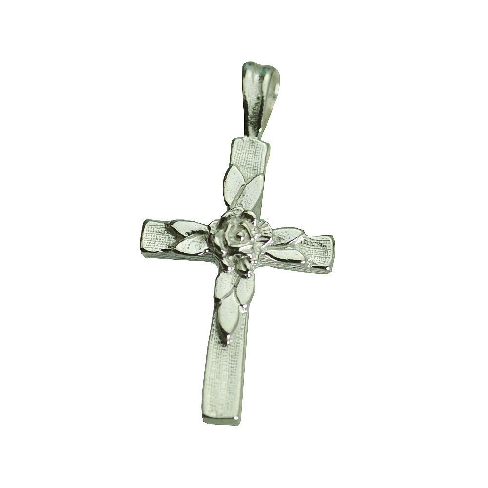 Real Sterling silver 925 Rose cross Sterling silver charm pendant for rosary nec