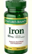 Big 100-ct Bottle of NATURE'S BOUNTY IRON (65 mg) Mineral Supplement Exp 10/21 - $9.99