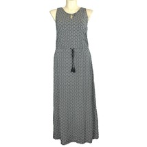 Talbots XL Maxi Dress White Black Geometric Long Keyhole Drawstring Stre... - $22.95