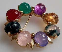 Vintage 14k Gold & Eight Stone Scarab Round Pin Brooch Amethyst Moss Agate - $245.00