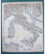 """1875 MAP BAEDEKER 14 x 18"""" - ITALY Carta Italia & Tunisia Malta SE Franc... - $16.20"""