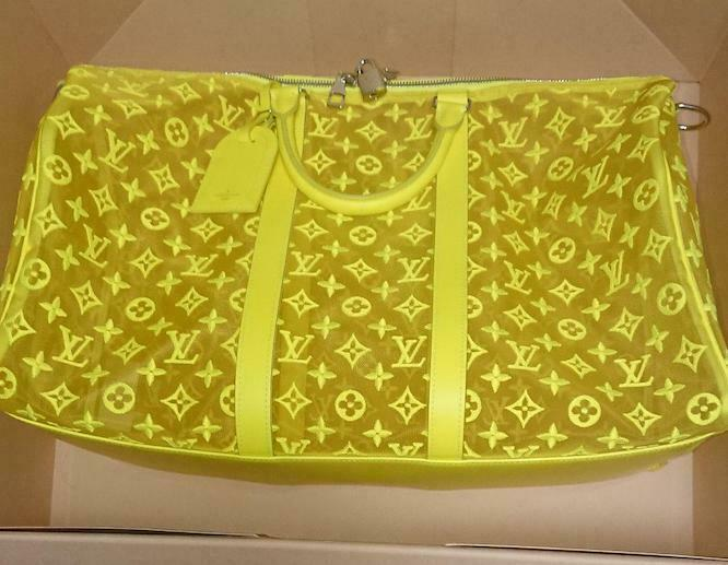 Louis Vuitton Keepall 50 Travel Bag M55380 Yellow See through Bandouliere Auth