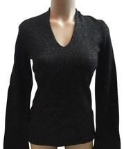 Ann Taylor Black & Gold Lame' Long Sleeve Sweater S - $29.95