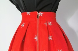 CHRISTMAS RED Winter Wool Midi Pleat Skirt High Waist Midi Skirt w. Star Pattern image 4